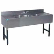 "Challenger Underbar Sink, Three Sink Comp, 60X21 W (2) 12"" Drainboards, S/S"