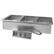 "Hot Food Well Unit, Drop-In, Electric, (3) 12"" x 20"" w/Manifold Drains, 120V"