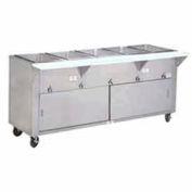 "Food Table, Electric, 47.125""L (3) 12"" x 20"" Wells S/S Sliding Doors, 240V"