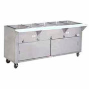 "Hot Food Table, Electric, 77.750""L (5) 12"" x 20"" Wells Sliding Doors, 208V"