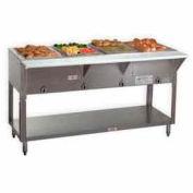 """Portable Food Table, Elec. 62.375""""L(4)12X20 Wells S/S w/Sliding Doors, 240V"""