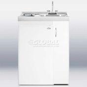 "Summit C301AUTOGLASS - 30"" W All-In-One Kitchen, Elec. Burners, Auto Def Refrigerator-Freezer, Sink"