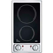 Summit CR2B120 - 2-Burner Electric Cooktop, Black Ceramic Glass Surface, 120V