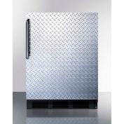 Summit FF63BDPLADA ADA Comp Freestanding All Refrigerator 5.5 Cu. Ft. Black/Diamond Plate