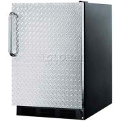 Summit FF6BBI7DPL - Built-In Undercounter All-Refrigerator, Black, Diamond Plate Wrapped Door