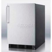 Summit FF6BBI7SSTB - Built-In Undercounter All-Refrigerator, Black, S/S Door, Towel Bar Handle