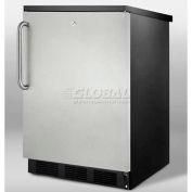 Summit FF7LBLSSTB Commercial Undercounter All Refrigerator W/Lock 5.5 Cu. Ft. Black/Stainless Steel