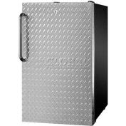 "Summit FS408BL7DPL - 20""W Counter Height All-Freezer, -20°C, LockDiamond Plate Door, Black"