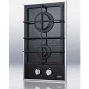 Summit GC2BGL - 2-Burner Gas-On-Glass Cooktop, Sealed Burners, Cast Iron Grates
