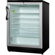Summit SCR600BL - Freestanding Beverage Refrigerator,, Black, Glass Door, Lock