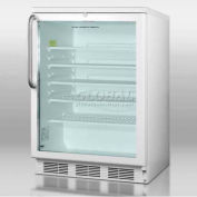 Summit SCR600LTB - Commercial Freestanding Beverage Refrigerator, White, Glass Door, Lock, TB Handle