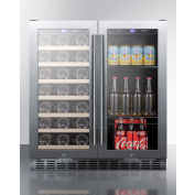 "Summit SWBV3001 - Built-In Wine/Beverage Combo, Undercounter W/Locks, 30"" W, S/S, Digital Thermostat"