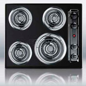 "Summit TEL03 - 24""W 220V Electric Cooktop, Black Porcelain Finish"