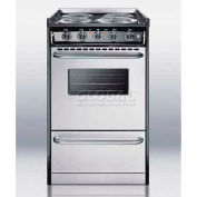 "Summit TEM110BRWY - Slide-In Electric Range, Slim 20""W, Stainless Steel Doors, Black Porcelain Top"