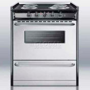 "Summit TEM210BRWY - Slide-In Electric Range, 30""W, Stainless Steel Doors, Black Porcelain Top"