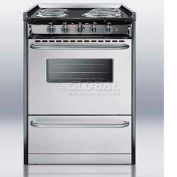 "Summit TEM610BRWY,  Electric Range, 24""W, S/S Doors, Black Porcelain Top"