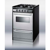 "Summit TNM11027BFRWY - Slide-In  Range, Gas, 4 Burners, 2.5 Cu. Ft., Black, 24"" x 20"" x 36"""