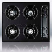 "Summit TNL033 - Cooktop, 4 Burners, Gas Spark Ignition, Porcelain Surface, Black, 24""W"