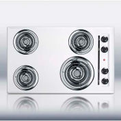 "Summit-30""W 220V Electric Cooktop, White Porcelain Finish"