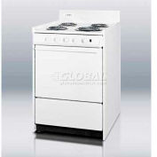 "Summit-Electric Range, Slim 24""W, Storage Compartment, White, 220V"