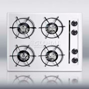 "Summit WNL033 - 24""W Gas Cooktop, Four Burners, Gas Spark Ignition, White"