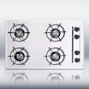 "Summit WNL053 - 30""W Cooktop, Four Burners, Gas Spark Ignition, White"
