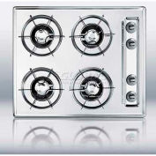 "Summit-24""W Gas Cooktop, Four Burners, Gas Spark Ignition, Brushed Chrome"