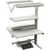 "DSA W/Steel Shelf, 6 Outlet Power, 2-Bulb Light, Footrest W/PF ESD Laminate, 48""W X 60""D X 75-3/5""H"