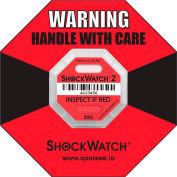 SpotSee™ ShockWatch® 2 Serialized Framed Impact Indicators, 50G Range, Red, 50/Box