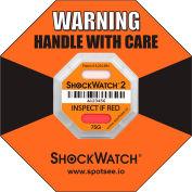SpotSee™ ShockWatch® 2 Serialized Framed Impact Indicators, 75G Range, Orange, 50/Box