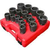 "Sunex® 3/4"" Dr. Heavy Duty SAE Impact Socket Set, 4683, 17-Piece, Alloy Steel"