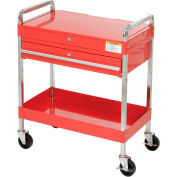 Sunex® Service Cart w/ Locking Top and Locking Drawer - Red