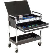 Sunex® Service Cart w/ Locking Top and Locking Drawer - Black
