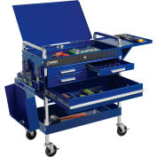 Sunex Tools 8013ABLDELUXE 4 Drawer Deluxe Blue Tool Cart W/ Locking Top &  Drawers