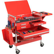 Sunex® Deluxe Service Cart, 8013ADELUXE, 4-Drawers, Red