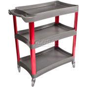 Sunex® 3 Shelf Plastic Cart, 8033, Aluminum Legs, Anodized