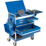 "Sunex Tools 8045BL 27"" Professional 5 Drawer Blue Tool Cart W/ Locking Top"
