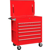 "Sunex Tools 8057 34-1/2""W X 20""D X 39-1/2""H 6 Drawer Red Tool Cabinet W/ Clamshell Lid"