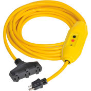 GFCI Cord Set 30438302-01, In-Line, Triple Tap, Auto, 25 FT, Yellow
