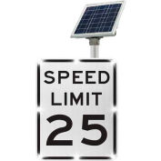 Tapco® 2180-00285-25 BlinkerSign® Speed Limit 25 Sign R2-1, White/Black, Solar