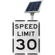 Tapco® 2180-00285-30 BlinkerSign® Speed Limit 30 Sign R2-1, White/Black, Solar