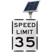 Tapco® 2180-00285-35 BlinkerSign® Speed Limit 35 Sign R2-1, White/Black, Solar
