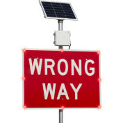 "Tapco® 2180-00287 BlinkerSign® Flashing LED Wrong Way Sign R5-1A, 30""W x 18""H, Red, Solar"