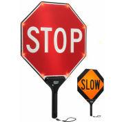 """Tapco® 2180-00322 STOP/SLOW BlinkerPaddle® Flashing LED Paddle, 18""""W x 24""""H"""