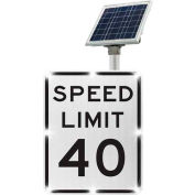 Tapco® 2180-C00769 BlinkerSign® Speed Limit 40 Sign R2-1, White/Black, Solar