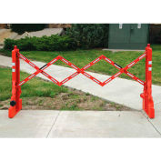 Tapco 2770-00001 Adjust-A-Gate, Portable Barricade With Two Flashing Lights On, 52 Reflective Bands