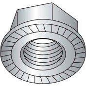 5/16-18 Serrated Flange Hex Nut - Grade 2 - Case Hardened Steel - Zinc Plated - Pkg of 100