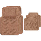 Waterhog Car Mats with Classic Pattern, Large, Medium Brown, Full Set of 4 - 3902510002070
