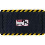 "Hog Heaven™ Sign Mat, Danger Moving Machinery, Horizontal Yellow Border, 69""x46""x5/8"""