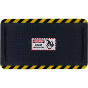 "Hog Heaven™ Sign Mat, Danger Moving Machinery, Horizontal Yellow Border, 69""x46""x7/8"""